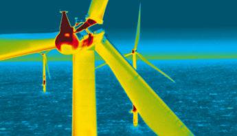 Windkraftanlage im Thermografiebild